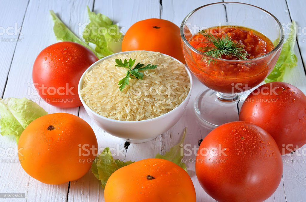 Ingredients for making pilaf, healthy food. stock photo