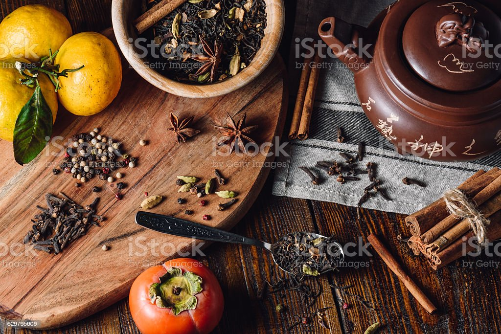Ingredients for Masala Chai stock photo