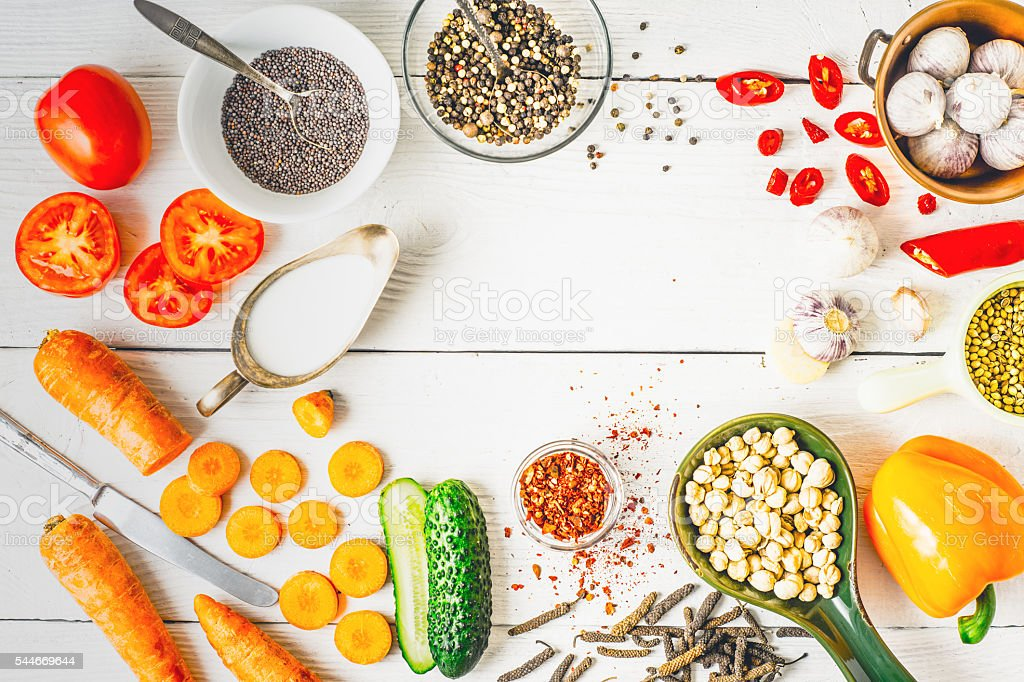 Ingredients  for Middle East , Caucasian and Asian cuisine horizontal stock photo