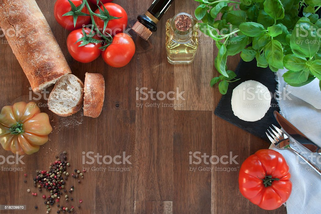 Ingredients for Mozzarella with tomatoes stock photo