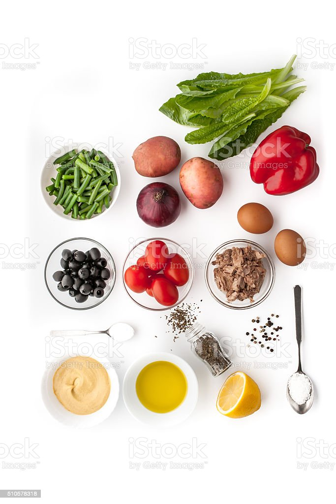 Ingredients for Nicoise salad on the white background stock photo