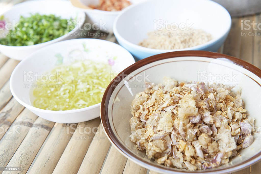 Ingredients for noodle soup of Thailand royalty-free stock photo