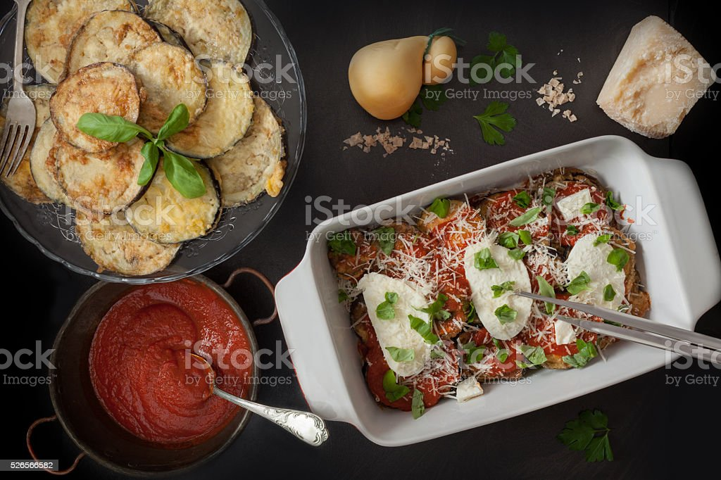 Ingredients For Parmigiana In Baking Pan stock photo