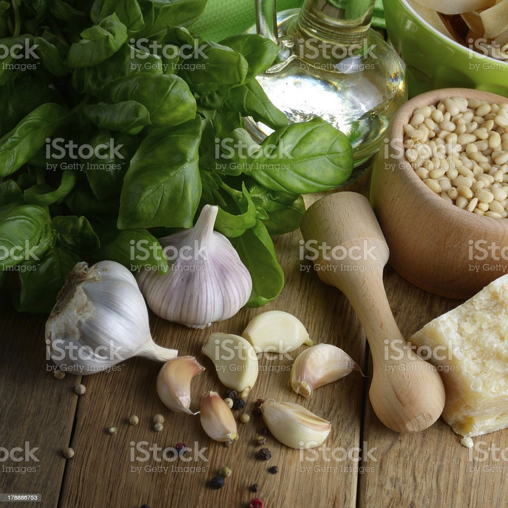 Ingredients for pesto royalty-free stock photo