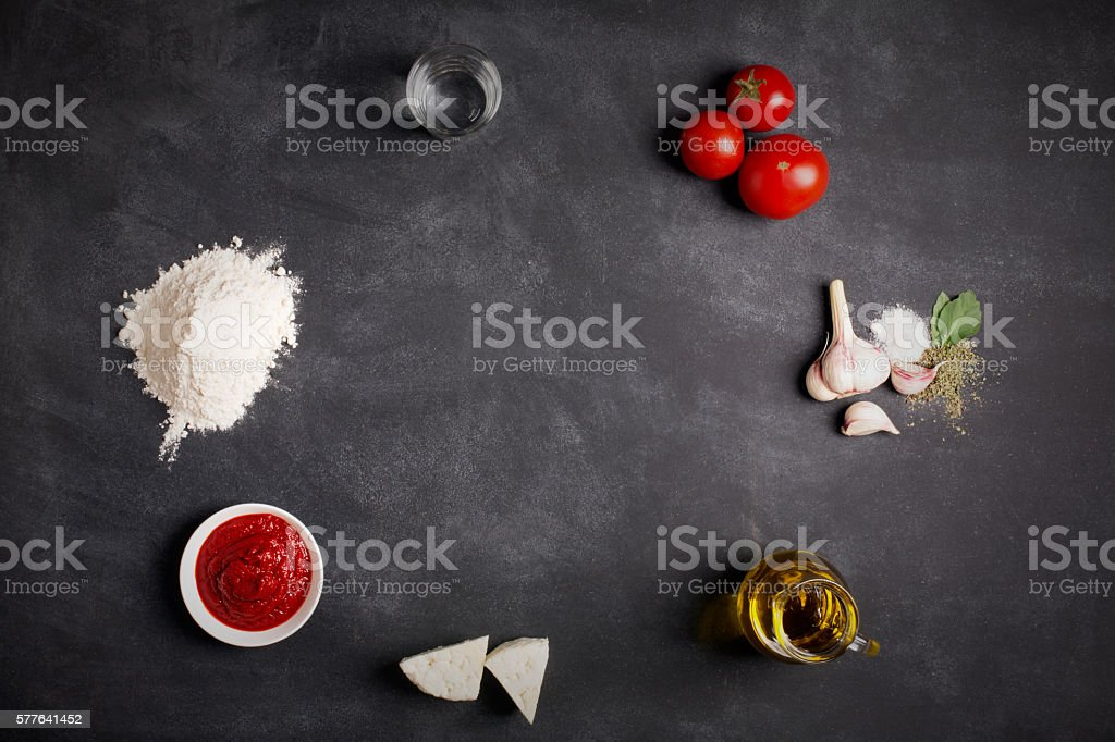 Ingredients for pizza on the chalkboard stock photo