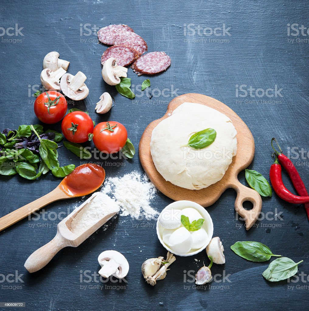 Ingredients for pizza stock photo