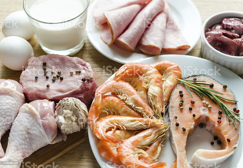 Ingredients for protein diet stock photo