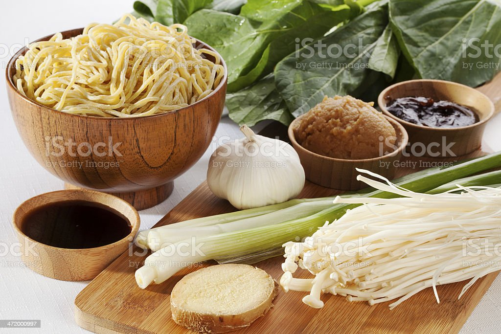 Ingredients for Ramen Noodle Soup stock photo