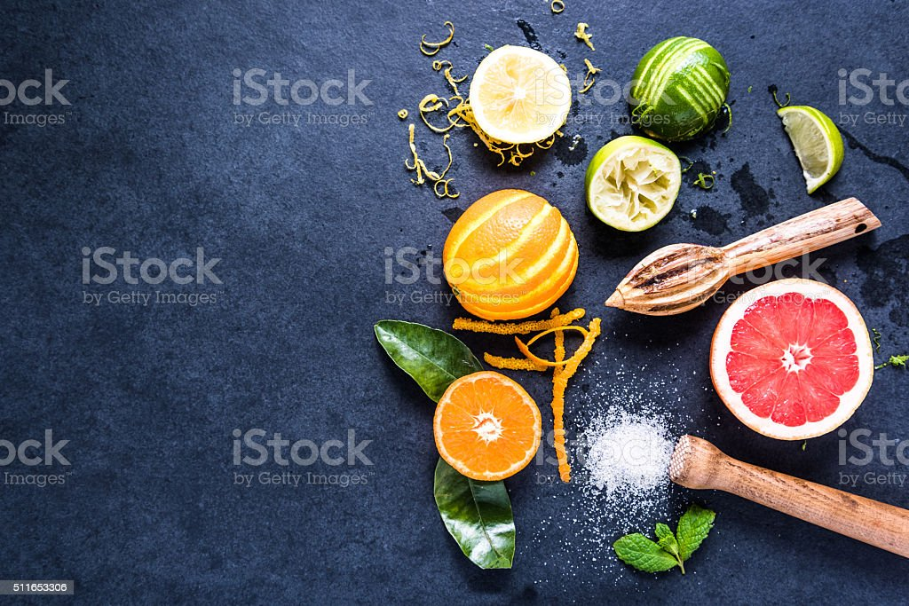 Ingredients for refreshing healthy lemonade stock photo