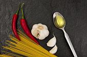 Ingredients for Spaghetti aglio e olio on black slate stone