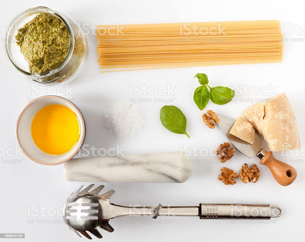 Ingredients For Spaghetti With Pesto stock photo