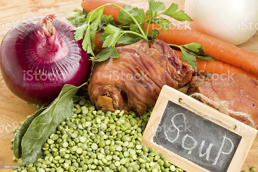 Ingredients For Split Pea Soup royalty-free stock photo
