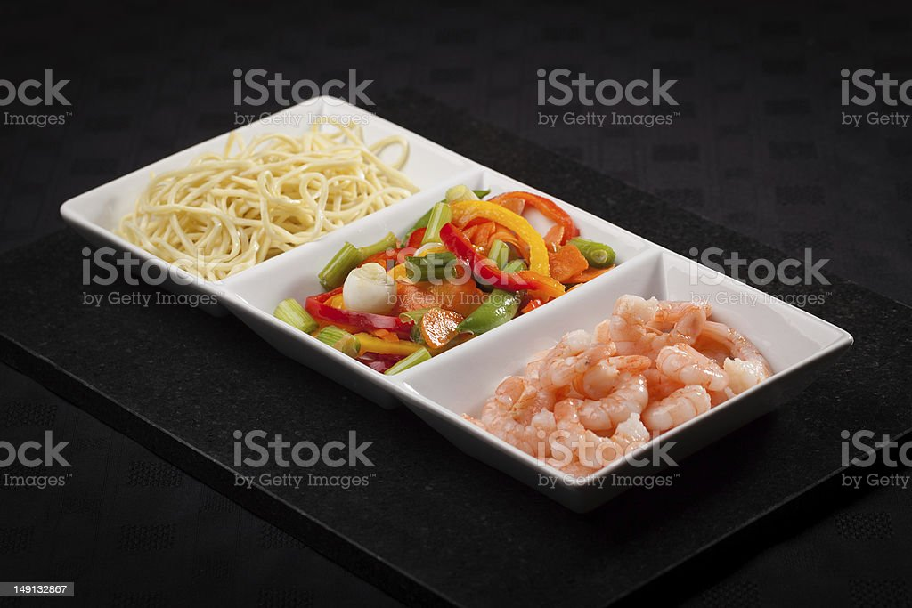 Ingredients for Sweet Chilli King Prawn Noodles royalty-free stock photo
