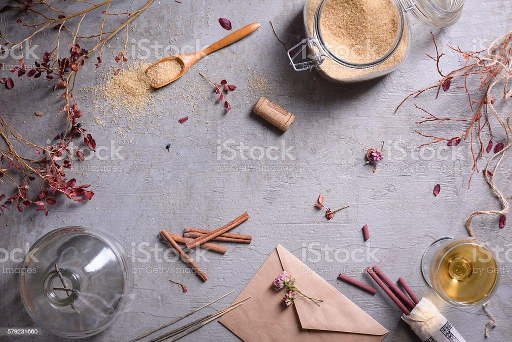 Ingredients for sweet preserves: sugar, cinnamon, white wine. stock photo