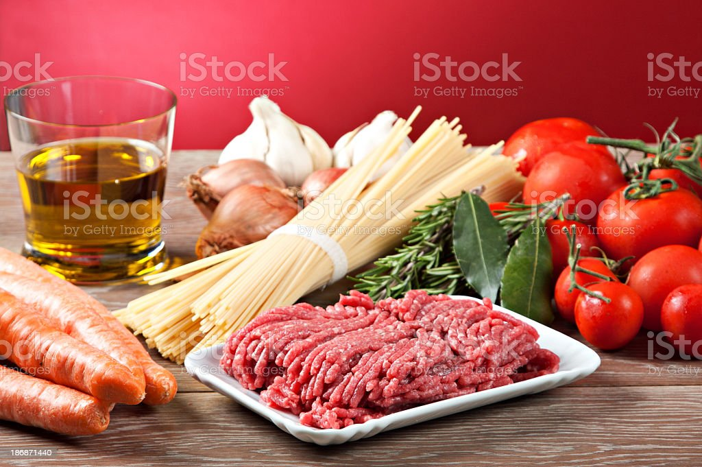 Ingredients for the Bolognese sauce royalty-free stock photo