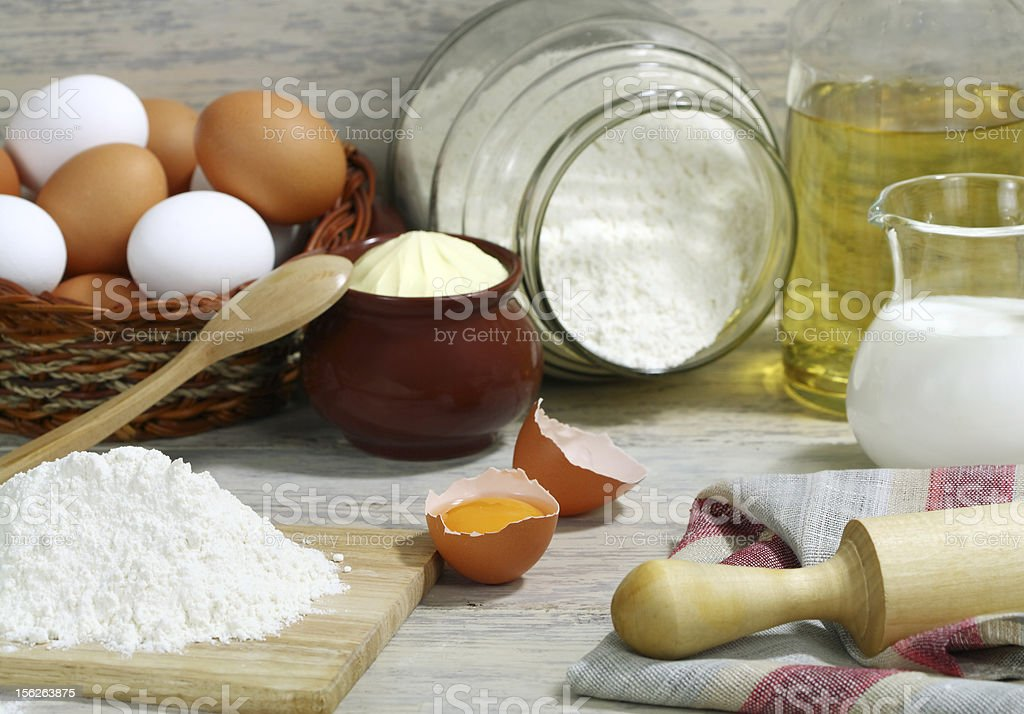 Ingredients for the dough. royalty-free stock photo