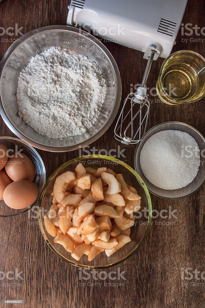 Ingredients for the dough. stock photo
