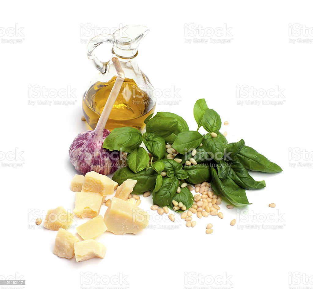 Ingredients for the Pesto Sauce. stock photo