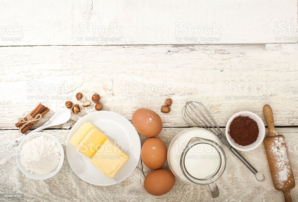 Ingredients for the preparation of bakery products stock photo