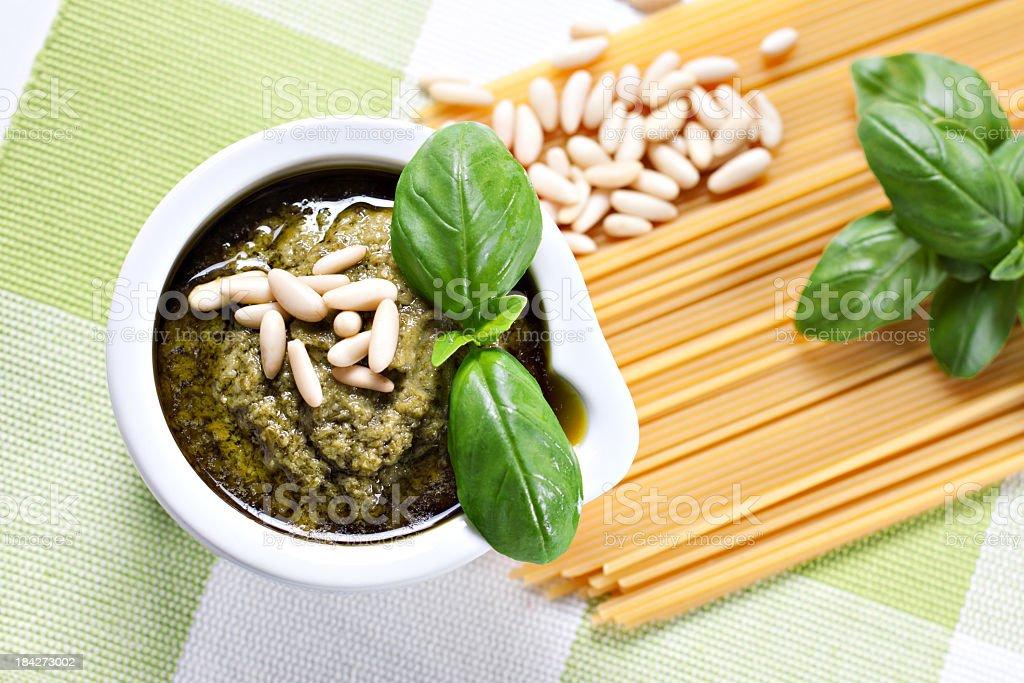 Ingredients for the spaghetti al pesto, a typical Italian recipe stock photo