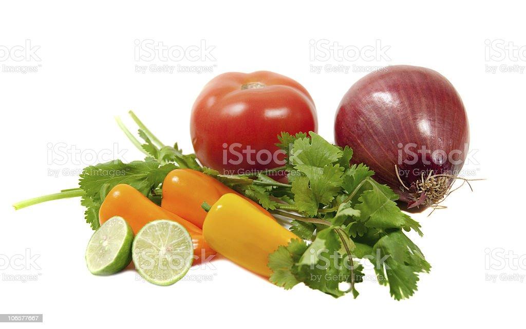 ingredients for tomatoe salsa stock photo