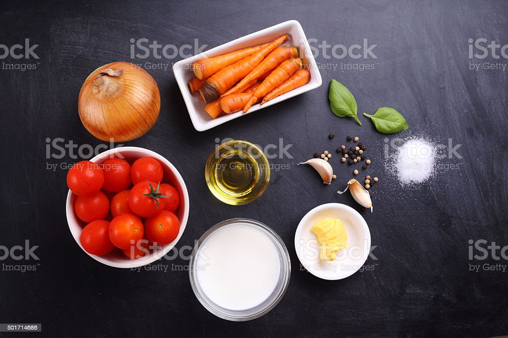 ingredients for tomatoes soup stock photo