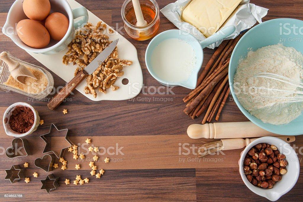 Ingredients for xmas baking stock photo