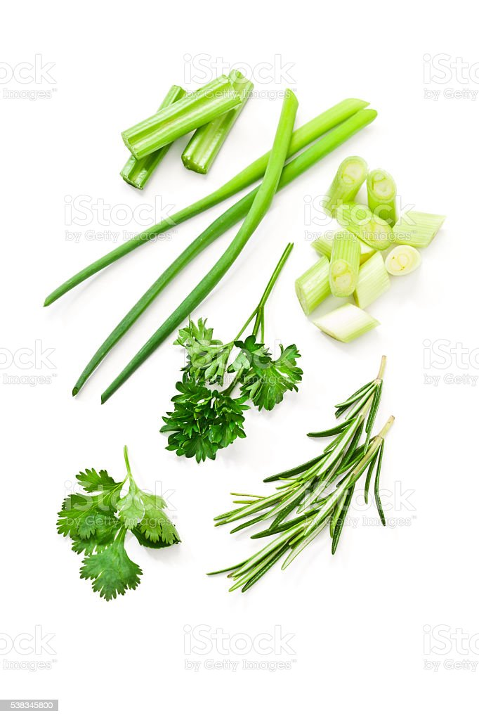 Ingredients: fresh green herbs stock photo