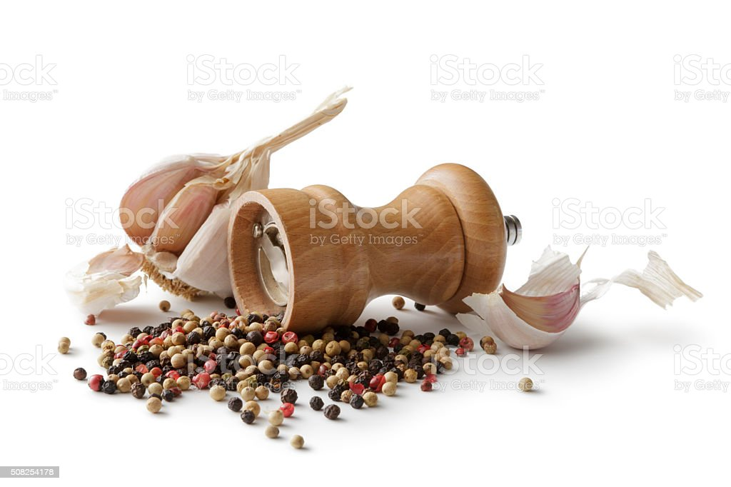 Ingredients: Garlic and Pepper Isolated on White Background stock photo