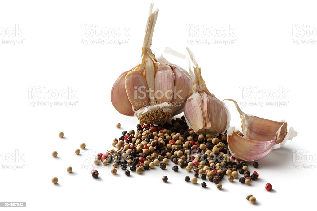 Ingredients: Garlic and Pepper stock photo
