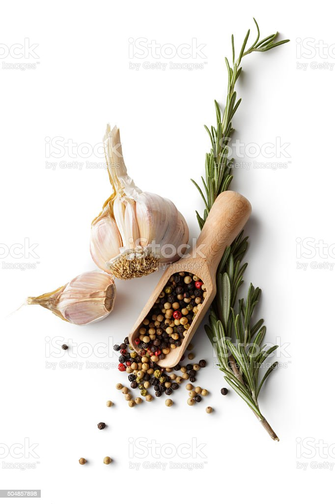 Ingredients: Garlic, Pepper and Rosemary stock photo