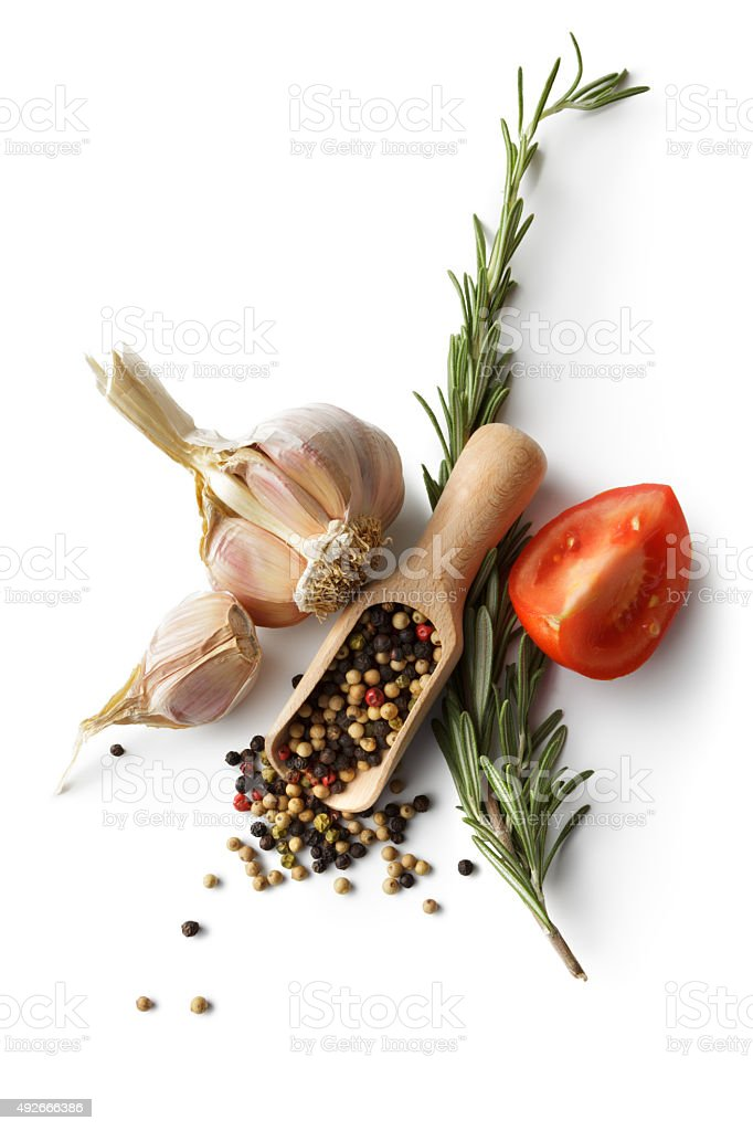 Ingredients: Garlic, Pepper, Rosemary and Tomato stock photo