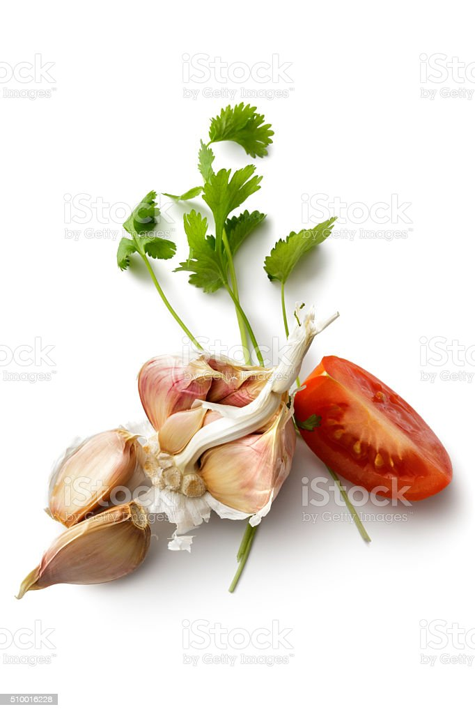 Ingredients: Garlic, Tomato and Cilantro Isolated on White Background stock photo