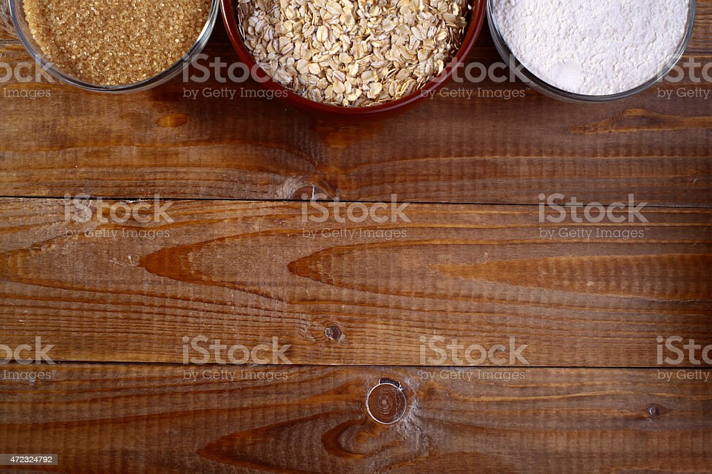 Ingredients in plates stock photo