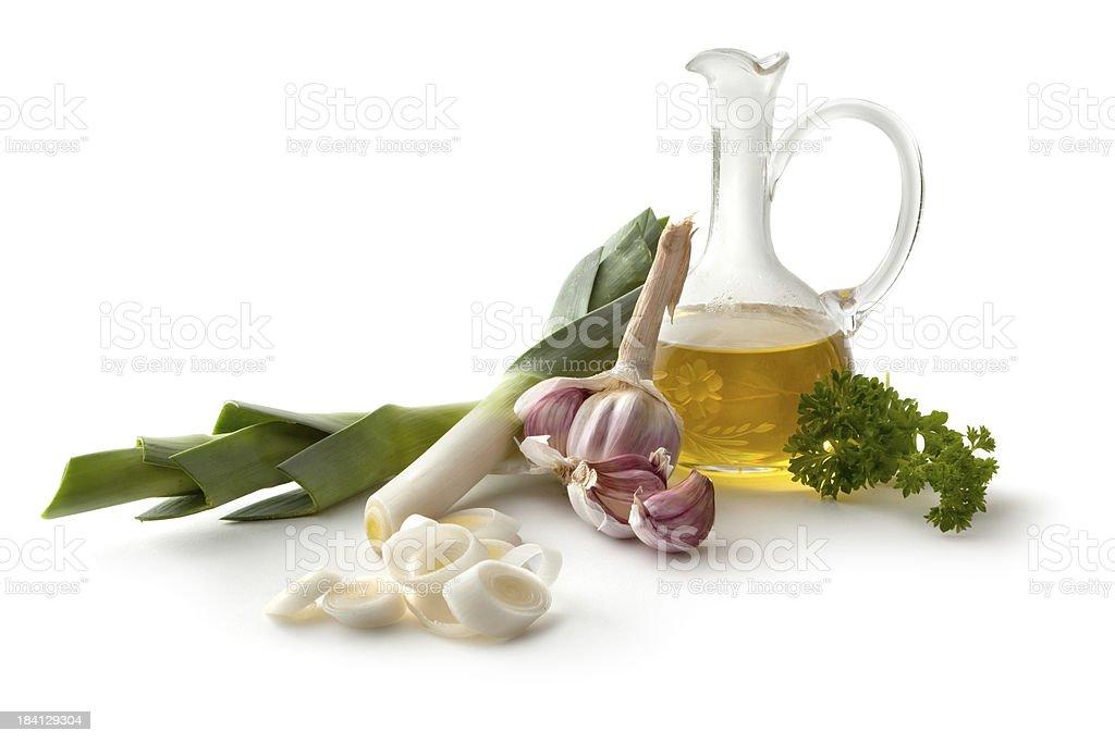 Ingredients: Leek, Garlic, Olive Oil and Parsley royalty-free stock photo
