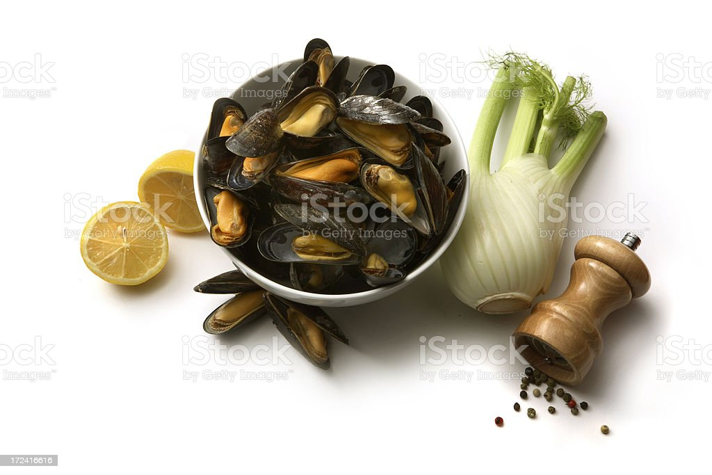 Ingredients: Mussels, Fennel, Lemon and Pepper royalty-free stock photo
