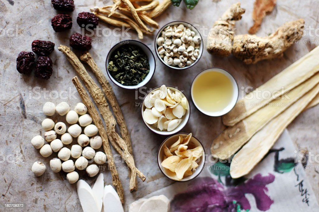 Ingredients of Chinese herbal medicine elements stock photo