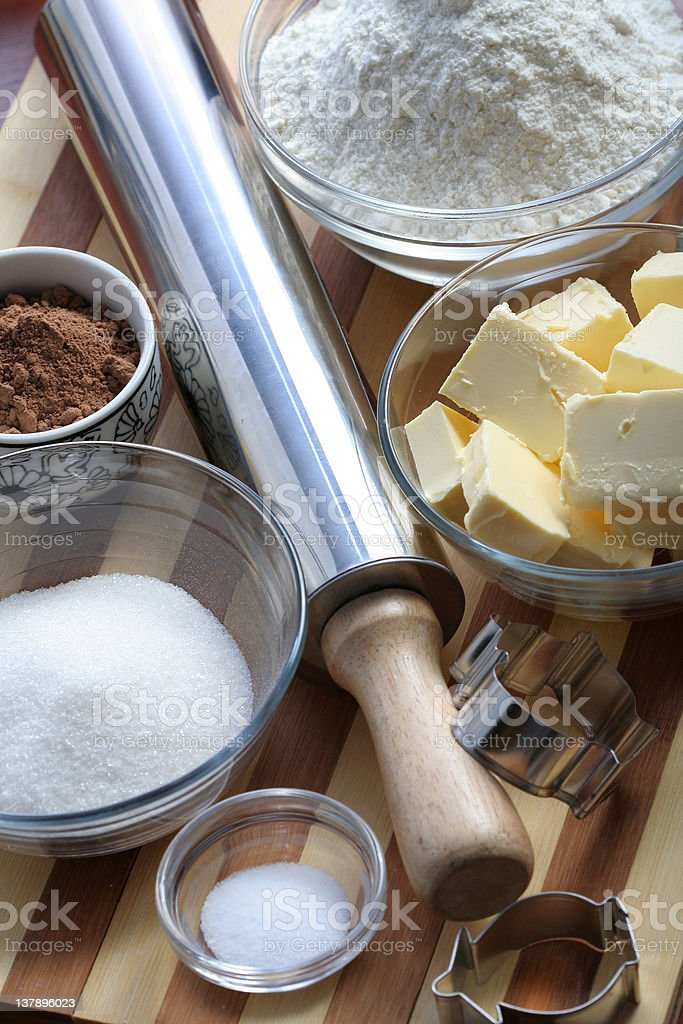 Ingredients of cookies stock photo