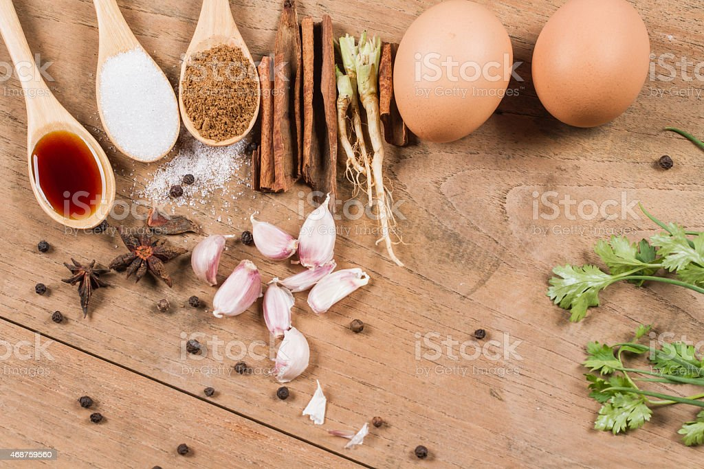 ingredients of eggs and pork stewed  in the gravy royalty-free stock photo
