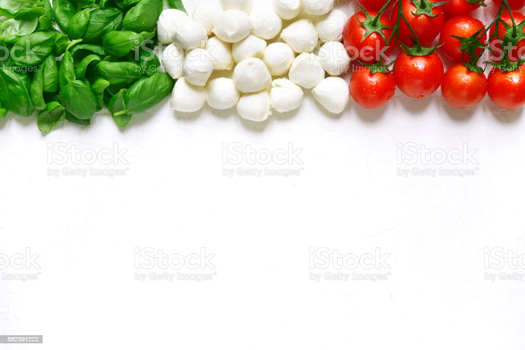 Ingredients of mediterranean cuisine in the form of the Italian flag stock photo