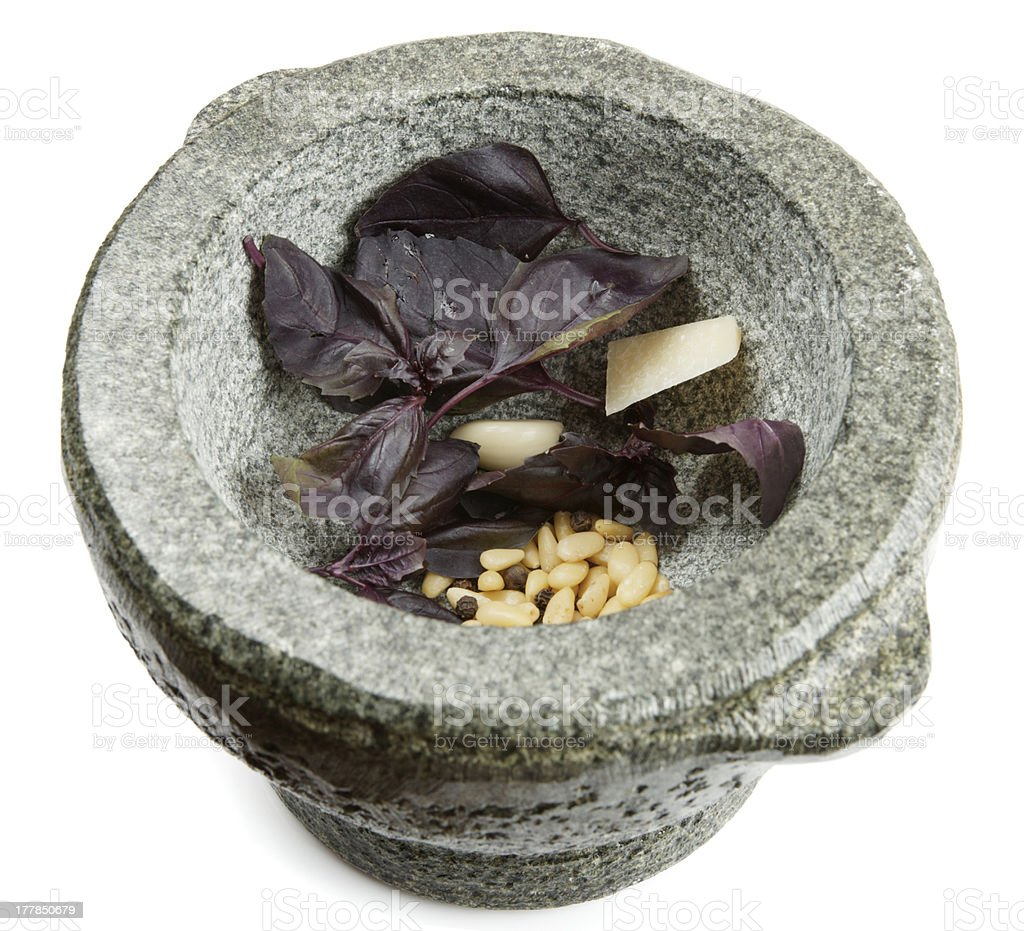 Ingredients of pesto sauce in mortar, isolated royalty-free stock photo