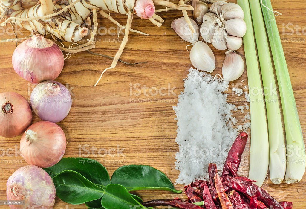 Ingredients of Tom Yam on  Thaifood Wood surface stock photo