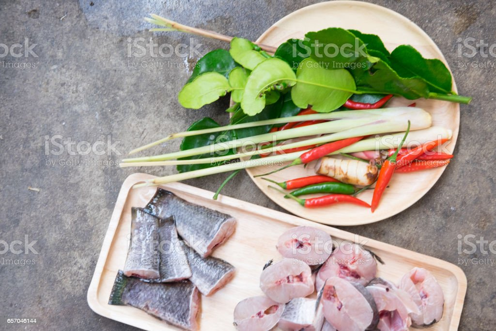 Ingredients of Tom Yam snakehead fish and vegetable ready to cook stock photo