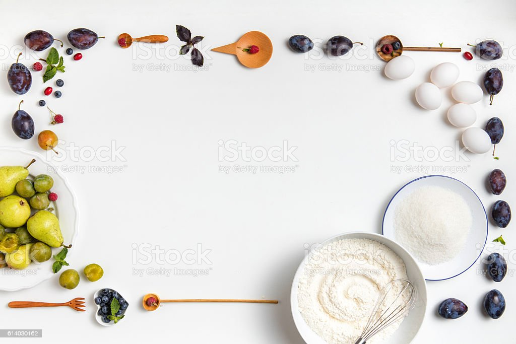 ingredients on a table for the pie stock photo