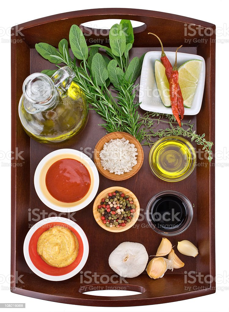 Ingredients on tray stock photo
