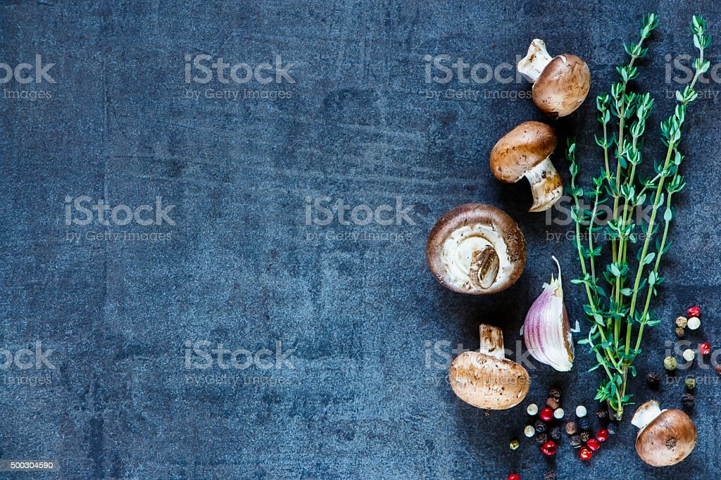 Ingredients on vintage background stock photo