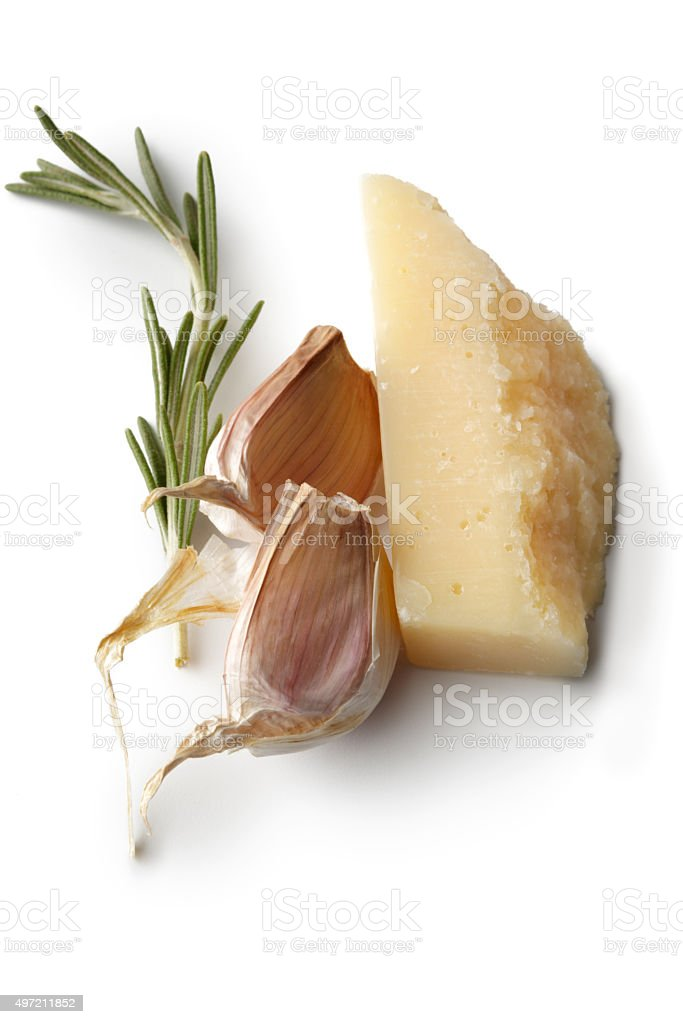 Ingredients: Parmesan, Garlic and Rosemary stock photo