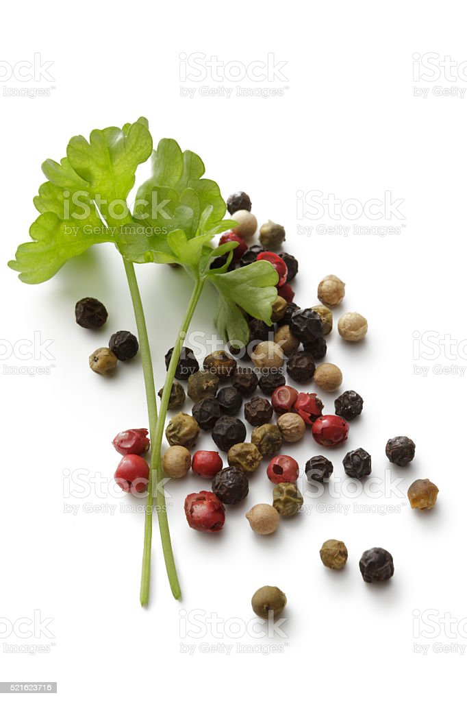 Ingredients: Parsley and Peppercorns Isolated on White Background stock photo