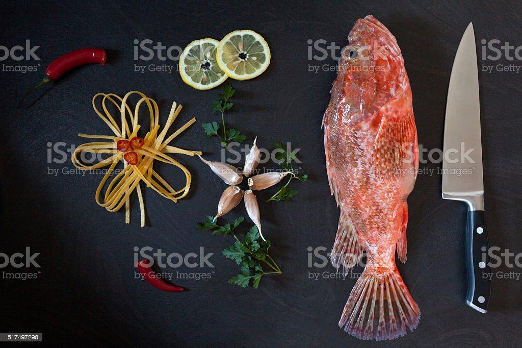 Ingredients Pasta Scorpionfish stock photo