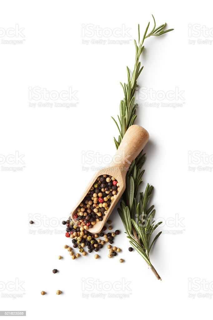 Ingredients: Pepper and Rosemary stock photo